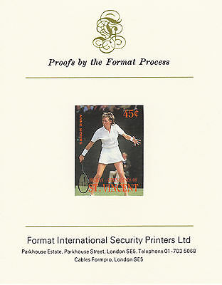 Bequia 2625 - 1987 TENNIS 45c imperf on Format Int PROOF  CARD