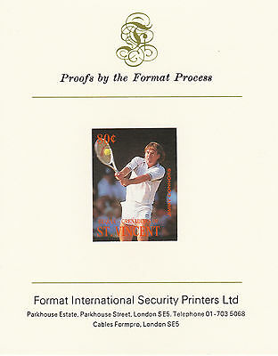 Bequia 2626 - 1987 TENNIS 80c imperf on Format Int PROOF  CARD