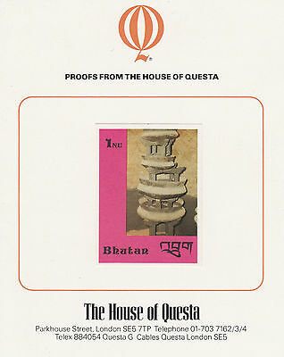Bhutan 2641 - 1988 HANDICRAFTS & ANTIQUES 1nu on HOUSE OF QUESTA PROOF  CARD