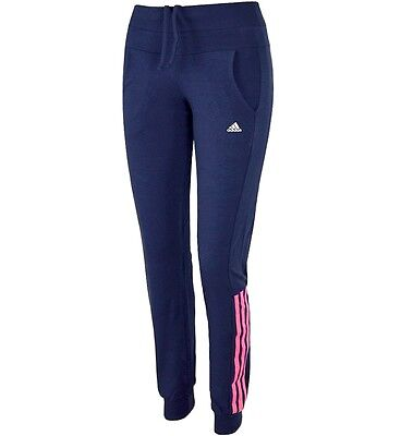 Adidas Damen Trainingshose Laufhose Jogging Fitness Hose Leggins Pants navy/pink