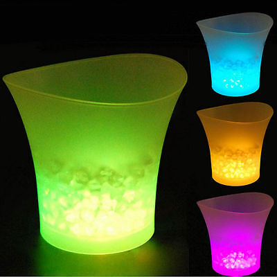 JM LED Light Ice Bucket Champagne Wine Drinks Beer Ice Cooler Bar Party Club 5L