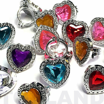 Pack Of 36 Plastic Gem Rings Princess Toy Girls Favor Birthday Party Bag Fillers