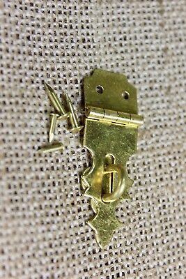 """jewelry box hasp vintage old solid brass 5/8"""" x 1 7/8"""" lockable chest USA made"""