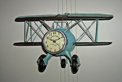 Vintage Style Metal  BIPLANE CLOCK for Wall or Counter ~ Barnstormer Airplane~