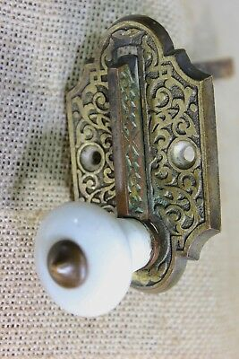 mechanical Doorbell PULL knob handle Lever vintage brass White porcelain knob