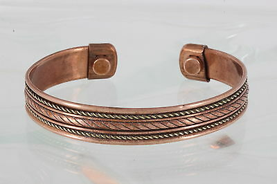 Two Tone Brass Copper Rope Design Magnetic Cuff Bracelet Fashion 2400