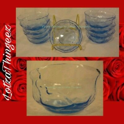 EUC Morgantown Set of 9 Crinkle Peacock Blue Fruit Dessert Bowls 4135548 sk