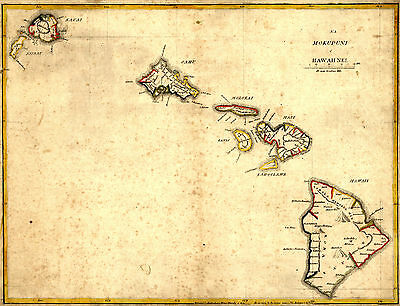 "1837 MAP of Hawaii, Historic Print, 20""x 14"", antique America, U.S. History"