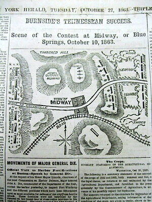 1863 CIVIL WAR newspaper w large MAP BATTLE OF BLUE SPRINGS Midway TENNESSEE
