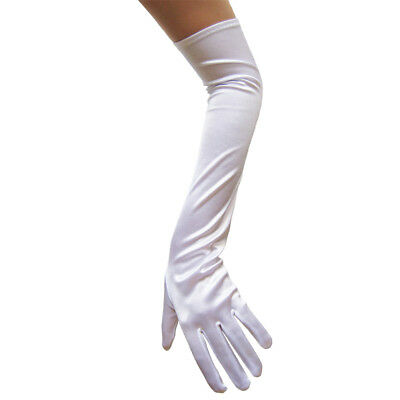 Long Opera Length White Satin Gloves ~ DANCE WEDDING PROM FORMAL EVENING PARTY