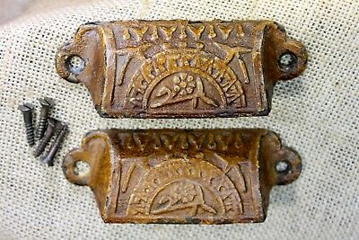 2 old Bin Drawer Pulls handles flowers vintage primitive iron shabby paint 4""