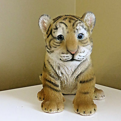 TIGER FIGURINE BABY SITTING STATUE 5.75 in. AFRICAN ANIMAL JUNGLE HOME DECOR CAT