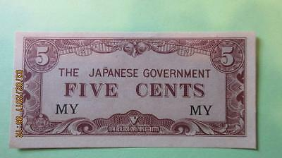 Five Cents Japanese Government Paper Money  (My)