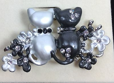 CAT PIN Black Silver Painted Enamel Austrian Crystals Rhinestones STUNNING NEW