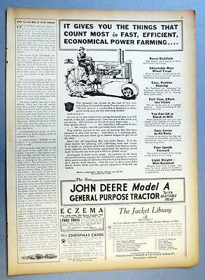 Original 1934 John Deere Model A Tractor Ad GIVES YOU THINGS THAT COUNT