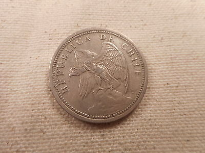 1933 Chile Un Peso - Nice Collectible Grade Album Type Coin - # 030125