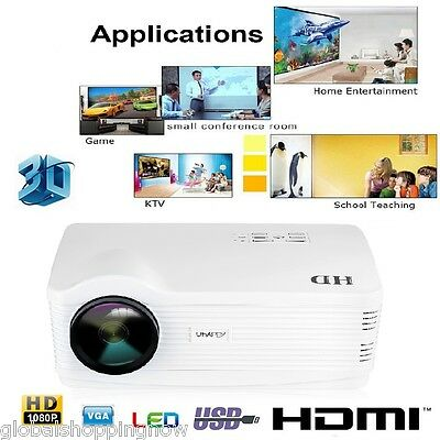 5000lm 2000:1 proyector HD Uhappy Projector HDMI/USB/SD/ATV/AV/VGA home theater