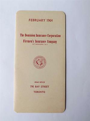 Calendar Vintage February 1964 Dominion Insurance Corportation Toronto Canada