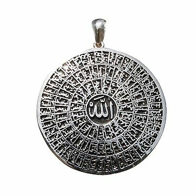 St. Silver Cast Shiny Antiqued Large 99 Names of Allah Pendant -Asma ul-Husna