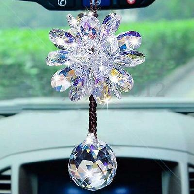 New Car Interior Decor Crystal Clear Flower Pendant Hanging Ornament Accessory