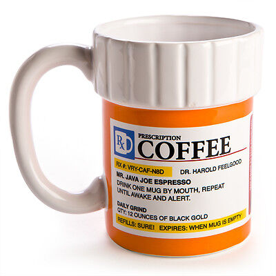 44600 PRESCRIPTION COFFEE MEDICINE BOTTLE 12oz CERAMIC MUG WITH FAKE LABEL GIFT