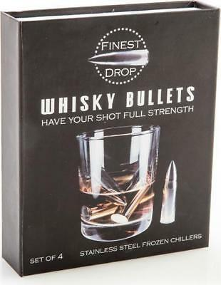 44962 Set Of 4 Stainless Steel Whiskey Bullets Frozen Freezer Chill Gift Idea
