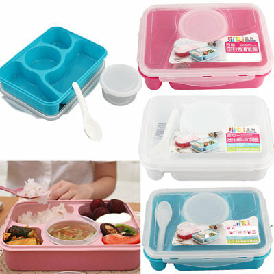 Microwave Bento Lunch Box + Spoon Utensils Picnic Food Container Storage Box XU