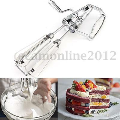 Stainless Steel Rotary Hand Whisk Egg Beater Mixer Blender Kitchen Cooking Tool