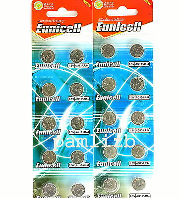 AG13  LR44 Alkaline batteries  by Eunicell  G13  A76 GP76A  battery  0 % Hg x 20