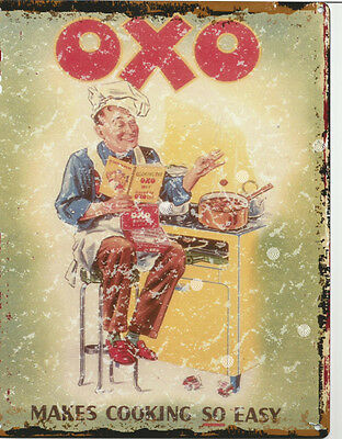 OXO KITCHEN ADVERTISING METAL SMALL SIGN  pub bar shop cafe tea room tin