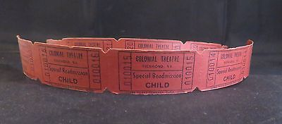 10 Vintage Colonial Theatre Special Readmission Child Tickets RIC VA Unused