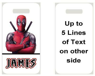 DEADPOOL BAG TAG Personalized NAME Info Custom For Luggage Backpacks Super Hero