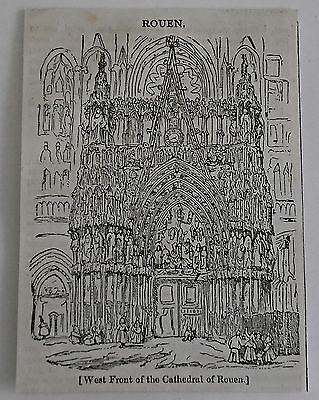small 1832 magazine engraving ~ West Front of Cathedral of ROUEN, France