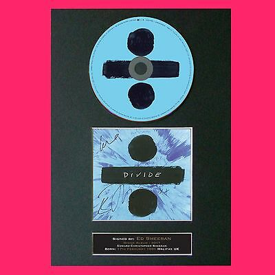 ED SHEERAN Divide Album 2017 Signed CD COVER MOUNTED Autograph Repro Print (75)
