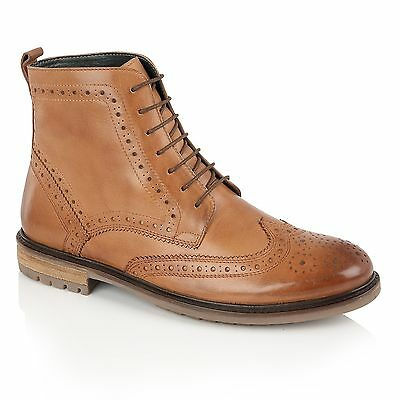 cffda8a3cf1dc6 Silver Street London GERRARD Mens Casual Lace Up Leather Brogue Derby Boots  Tan