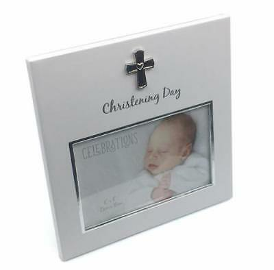 Christening Juliana White MDF 6/'x/'4 Photo Frame with Cross Icon