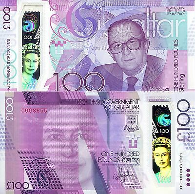 GIBRALTAR 100 Pound Banknote World Paper Money UNC Currency Pick p-New 2017 Bill