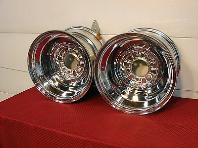 60 61 62 63 64 65 66 CHEVROLET TRUCK NOS FIRESTONE CHROME 15x10 WHEELS 6x5.5