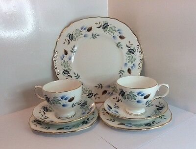 2 Colclough Cup, Saucer, Side Plate Trios And Cake Plate