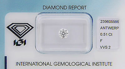Diamond 0,51ct F VVS 2 Round Diamant IGI Certificate  - Laserscribe and Sealed -