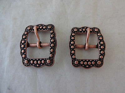 """Pair Belt Buckles Antiqued Copper Berry 5/8"""" Horse Western Tack Weaver Leather"""