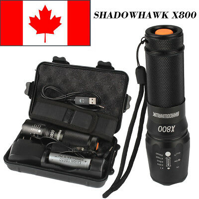 CA 8000lm Genuine Shadowhawk X800 Tactical Flashlight Cree L2 LED Zoomable Torch