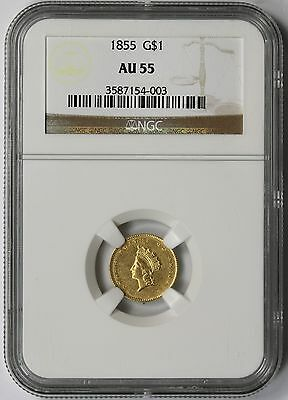 1855 Type 2 Indian Princess Small Head Gold Dollar $1 AU 55 NGC