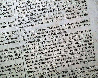 Very Early & Rare 17th Century 1666 London UK Newspaper w/ GREAT PLAGUE Deaths