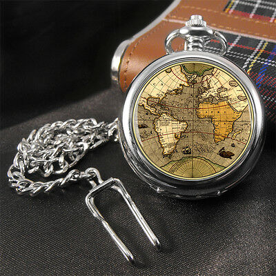 Antique World Map (old map) Travellers Pocket Watch