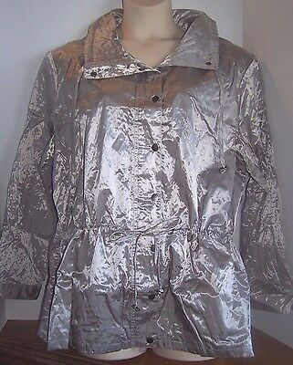 ff9a13db5d8 Travel Smith TravelSmith Silver Pewter Metallic Wind Breaker Jacket Coat  Small