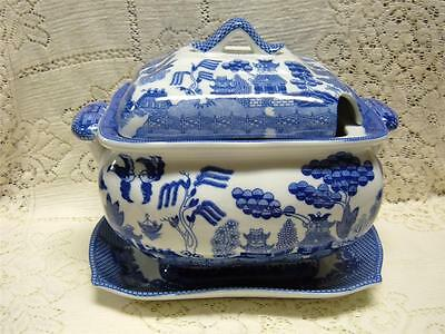 Rare White Blue Willow Tureen, Lid & Tray Asian Oriental Chinese Japanese