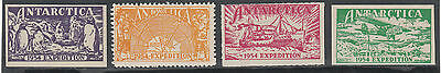 Stamps AAT Antarctic group of 4 cinderella labels various perforation types MUH