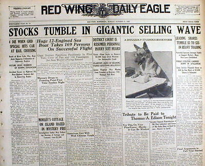 5 1929 newspapers WALL STREET STOCK MARKET CRASH & beginning of GREAT DEPRESSION