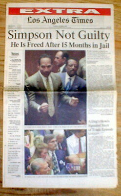 Best 1995 newspaper OJ SIMPSON found NOT GUILTY of MURDER of his wife & a friend